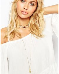 ASOS | Metallic 70s Stone Drop Choker Multirow Necklace | Lyst