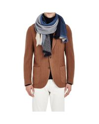 Barneys New York - Blue Colorblocked Scarf for Men - Lyst