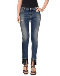 Pinko | Blue Denim Capris | Lyst
