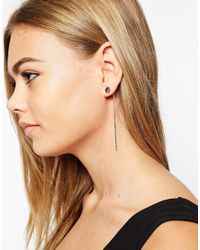 ASOS - Gray Stone Stick Earrings - Lyst
