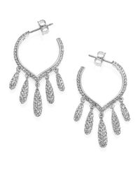 Adriana Orsini | Metallic Teardrop Fringe Hoop Earrings | Lyst