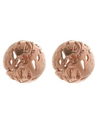 Alex Monroe | Pink Rose Gold-plated Peacock Feather Stud Earrings | Lyst