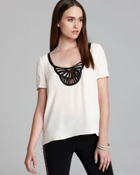 Plenty by Tracy Reese - Natural Tee Embellished Neck - Lyst