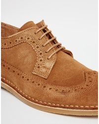 SELECTED - Blue Royce Desert Brogue Shoes - Brown for Men - Lyst