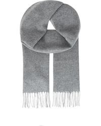 BOSS - Gray Tonal Stripe Wool & Cashmere Scarf for Men - Lyst
