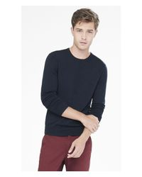 Express - Blue Merino Wool Crew Neck Sweater for Men - Lyst