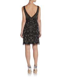 Adrianna Papell - Black Sleeveless Beaded Shift Dress - Lyst