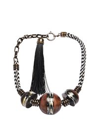 Lanvin | Brown Short Wooden Sphere Necklace | Lyst