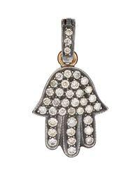 Munnu | Metallic Pave Hamsa Charm | Lyst