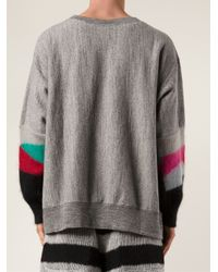 Facetasm - Gray Contrast Sleeve Sweater for Men - Lyst