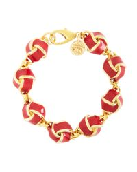 Brooks Brothers - Red Enamel Knot Link Bracelet - Lyst
