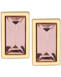 T Tahari | Metallic Gold-tone Rectangle Pink Crystal Stud Earrings | Lyst