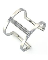 Vince Camuto | Metallic Silvertone And Crystal Cut Out Cuff | Lyst