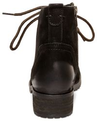 Steve Madden | Black Gobbin Lace-up Boy Booties | Lyst