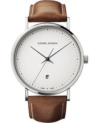 Georg Jensen - Gray Koppel Stainless Steel And Leather Watch 41mm - Lyst