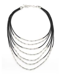 John Hardy - Metallic Bamboo Sterling Silver & Black Cord Multi-strand Necklace - Lyst