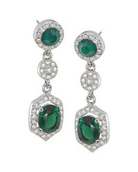 Carolee | Green Simply Triple Drop Pierced Earrings | Lyst