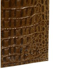 French Connection - Brown Leather Billfold Wallet In Croc Effect for Men - Lyst