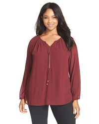MICHAEL Michael Kors | Red Zip Front Peasant Tunic | Lyst