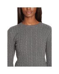 Ralph Lauren - Gray Cable-knit Cotton Sweater - Lyst