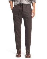 Billy Reid Brown 'stanton' Tapered Leg Wool Blend Pants for men