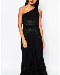 Forever Unique | Black Ryleigh One Shoulder Maxi Dress With Lace Applique | Lyst