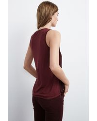 Velvet By Graham & Spencer - Red Hasani Satin Contrast Tank Top - Lyst