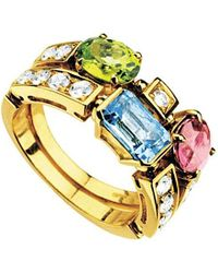BVLGARI | Allegra Two-band 18ct Yellow-gold, Pink Tourmaline, Peridot, Blue Topaz And Pavé Diamond Ring | Lyst