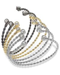 ABS By Allen Schwartz | Multicolor Tri-Tone Crystal Wire Bangle Bracelet Set | Lyst