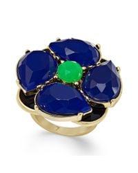 kate spade new york - New York Goldtone Blue Green Stone Flower Ring - Lyst