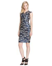 Teri Jon - Blue Metallic Print Surplice Dress - Lyst