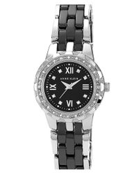 Anne Klein - White Crystal & Ceramic Bracelet Watch - Lyst