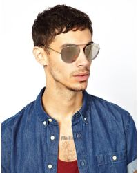 ASOS - Metallic Navigator Sunglasses Without Nose Bridge for Men - Lyst