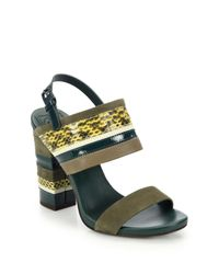 Tory Burch | Green Edina Mixed-media Sandals | Lyst