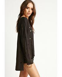 Forever 21 - Black Nytt Distressed Side-slit Top - Lyst