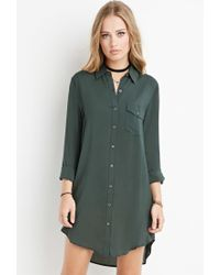 Forever 21 | Green Curved-hem Shirt Dress | Lyst