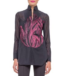 Akris - Black Embroidered Voile Tunic Blouse - Lyst