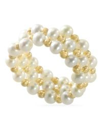 Macy's - White Pearl Ring, 14K Gold Cultured Freshwater Pearl Coil Stretch Ring (4Mm) - Lyst