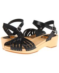Swedish Hasbeens - Black Braided Low Wedge - Lyst