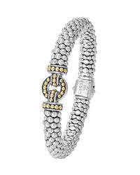 Lagos - Metallic 9mm Sterling Silver Enso Caviar Rope Bracelet - Lyst
