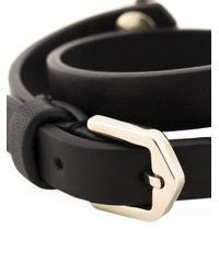 Tod's - Black Leather And Metal Cuff Bracelet - Lyst