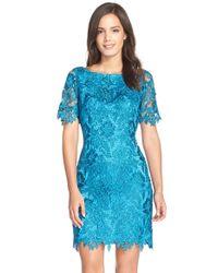 Tahari - Blue Short Sleeve Lace Sheath - Lyst