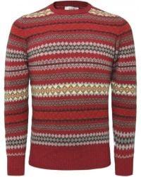 Jules B - Red Lambswool Fair Isle Sweater for Men - Lyst