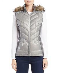 MICHAEL Michael Kors | Gray Faux Fur-trimmed Quilted Vest | Lyst