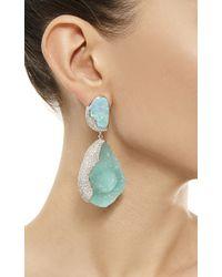 Kara Ross - Blue One Of A Kind 18k Gold with Hemimorphite Opal and Diamond Petra Earrings - Lyst
