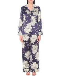 Olivia Von Halle - Blue Lila Grace Silk Pyjama Set - Lyst
