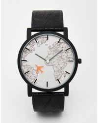 ASOS - Watch With Moving Aeroplane Second Hand In Black for Men - Lyst