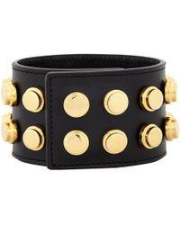 Saint Laurent - Black Studded De Force Bracelet - Lyst