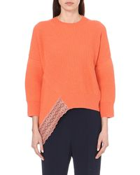 Stella McCartney - Pink Asymmetric Knitted Lace Jumper - Lyst
