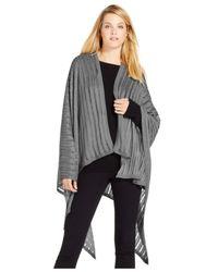 Calvin Klein | Gray Lurex Stripe Poncho | Lyst